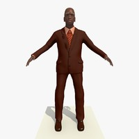 3d model of old african male man