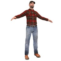 farm worker 3d obj