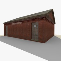 3d model old public toilet building exterior