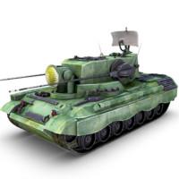 3d model flakpanzer gepard tank gun