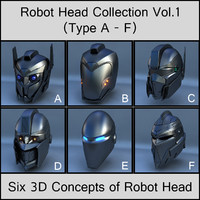 3d robot head vol 1 model