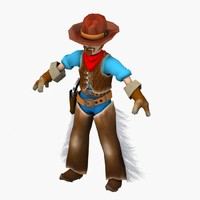 3d model cartoon cowboy