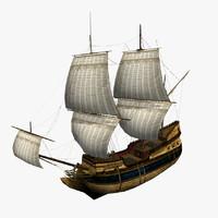 hms flutes ship s 3d max