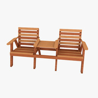 3d model wood bench seat