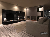 living room 19 night scene 3d model