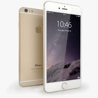 3d iphone 6 gold mobile phone model
