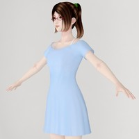 t-pose girl natsumi blue 3d max