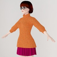 girl velma dinkley scooby-doo 3d max