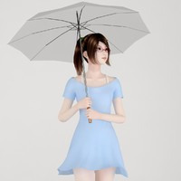 Asian girl Natsumi with an umbrella 01