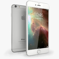 3d iphone 6 silver mobile phone model