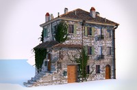 3ds max european village house building