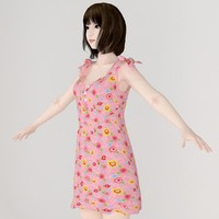 3d model of t-pose girl mariko dress