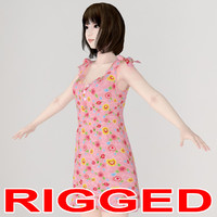 Rigged model of Mariko girl in dress