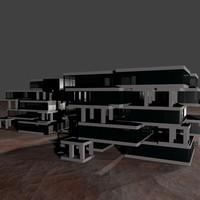 glass complex apartment buildings 3d blend