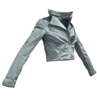 maya grey leather jacket