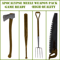 3d apocalyptic meele pack axe model