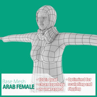 3d base mesh arab female model
