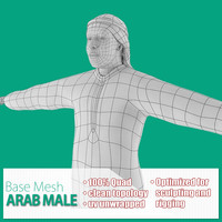 base mesh arab male 3d model