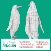 base mesh penguin 3d model