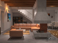 living room 9 night scene 3d model