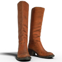brown boots 3d 3ds