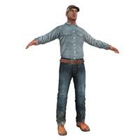 3d model farm worker