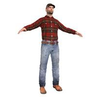 farm worker 3d max