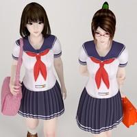 3d model 2 japanese girls natsumi