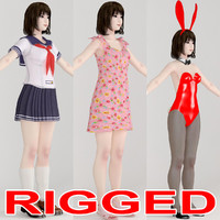 Rigged model of Asian girl Mariko in various outfit