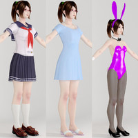 t-pose girl natsumi various 3d model