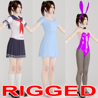 rigged girl natsumi various 3d model
