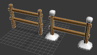 3d model of wooden barrier