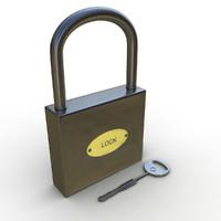 3d lock padlock key model