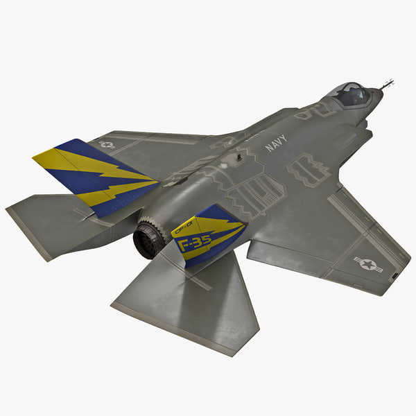 Fighter Aircraft Lockheed Martin F-35 Lightning II Rigged jet plane airplane single engine stealth combat reconnaissance ground attack vray