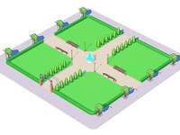 city park cartoon toon 3d c4d