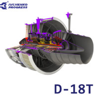 d-18t turbofan engine cutaway 3d model