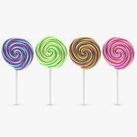 lollipop 4 colors 3d model