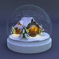 snowglobe snow globe 3d max