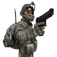 modern soldier 3d model