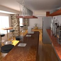 pub restaurant bar 3d model