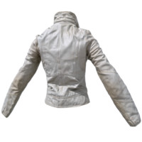 3d obj white leather jacket