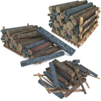3d model wood log pack