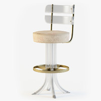 Lucite & Brass Swivel Bar Stool