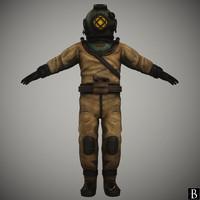 3d x vintage diving suit