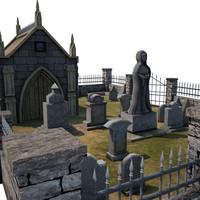 3d model medieval cemetery