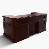 3d vintage wooden desk