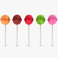 3d model lollipops asst 5 colors