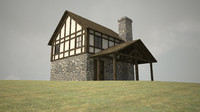 c4d medieval house porch