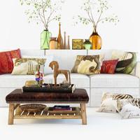 maya pottery barn set sofa