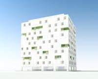 flat building obj